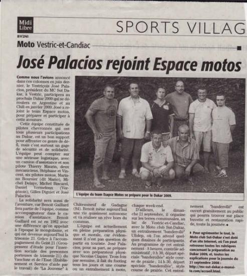 Midi Libre septembre 2008 José Palacios concurrent Dakar 2009
