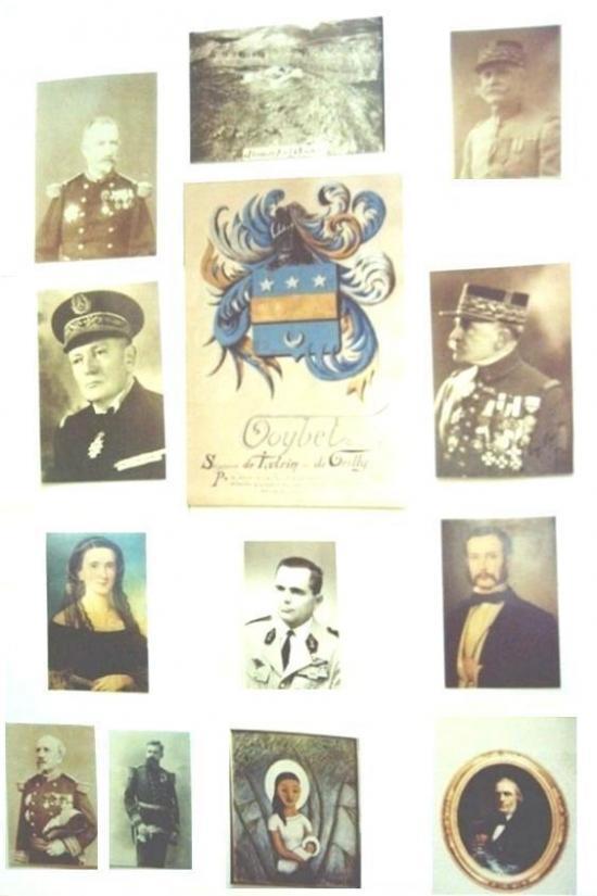 """Pierre  Jules GOYBET et marie Bravais  son épouse sont au centre de la photo . En partant de la gauche vers la droite de haut en bas  -Charles Goybet General de Division (1825-1910). -Fort Goybet à Damas -Victor Goybet General de Division (1865-1947) -Perre Goybet Contre Amiral (1887-1963) -Mariano Goybet General de Division (1861-1943) -Marie Bravais (1836-1913) et son mari Jules Goybet industriel ( Fils de Louise de Montgolfier et D'Alexis Goybet ) (1823-1912) qui encadrent Le Chevalier Pierre Adrien Goybet, Chef de Bataillon (1922-1995) -Théodore Lespieau General de Division (1829-1911). -Henri Goybet Capitaine de vaisseau (1868-1958) -Tableau """" La vierge du Vietnam"""" de Pierre Adrien Goybet. -Antoine Goybet Premier Maire de Yenne (1787-1867)."""