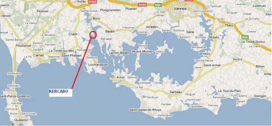 accès, localisation de Crac'h pour notre location de Villa vue mer
