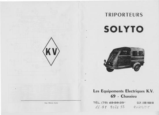 Triporteurs SOLYTO KV ; notice d/'entretien et catalogue des pièces détachées