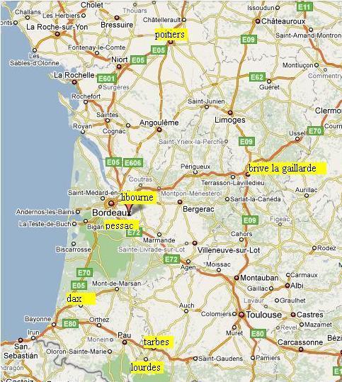 Infos sur carte du sud ouest de la france arts et voyages for Sud de la france hotel