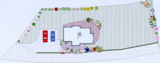 plan d'aménagement d'un jardin campagnard