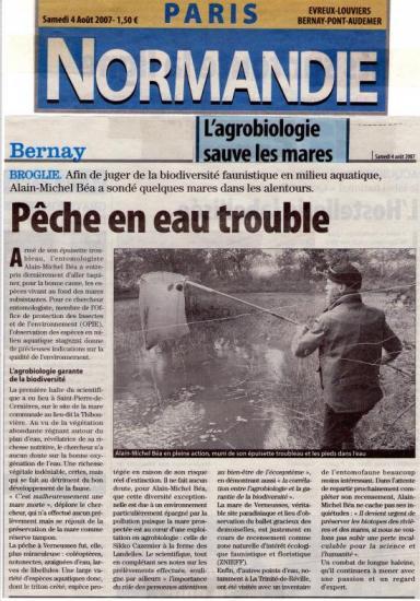 Article Paris Normandie sur les mares