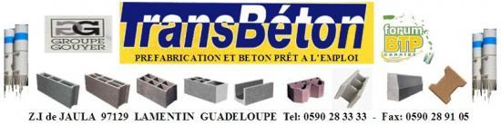 TRANSBETON, est présent sur la Guadeloupe avec ces 3 Centrales à Béton et une Usine de Préfabrication
