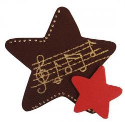 étoile en cuir couleur marron et décoré à la dorure à chaud
