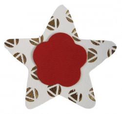 étoile en cuir couleur blanc et décoré à la dorure à chaud