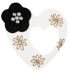 coeur blanc en cuir décoré à la dorure à chaud et pose de strass