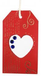 loisirs créatifs pour cette étiquette tag en cuir couleur rouge doré à chaud