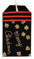 étiquette tag en cuir couleur noir décoré à la dorure à chaud et coupe de rubans