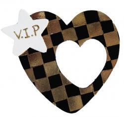 coeur noir en cuir décoré à la dorure à la chaud