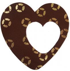 coeur en cuir marron décoré avec la dorure à chaud