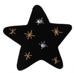étoile en cuir couleur noir décoré à la dorure à chaud et de strass