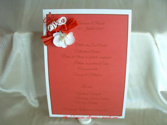 menu blanc rouge format A4 orchidée