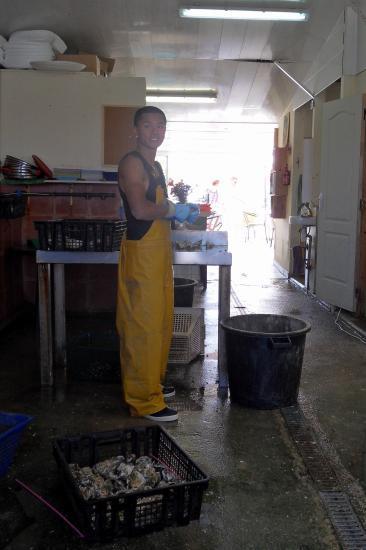 Paul ouvre les huîtres à la demande