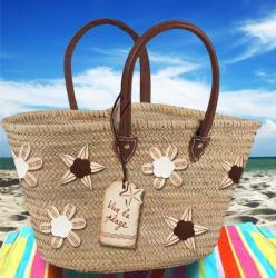 customisation d'un sac de plage avec embellissement cuir naturel