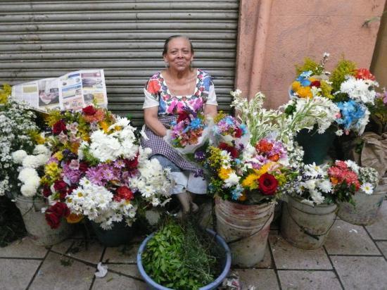 Marchande de fleurs, au premier plan basilic et romarin.